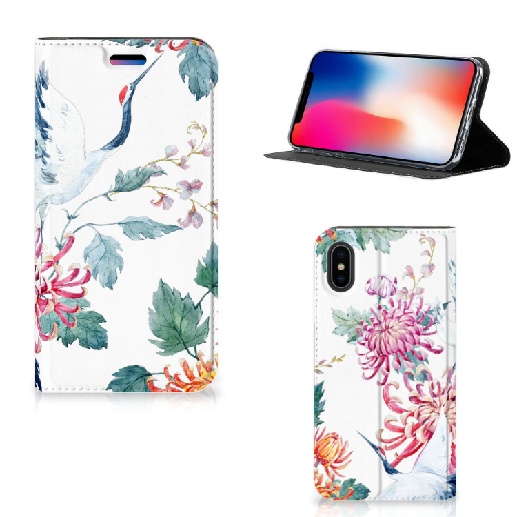Apple iPhone X | Xs Hoesje maken Bird Flowers
