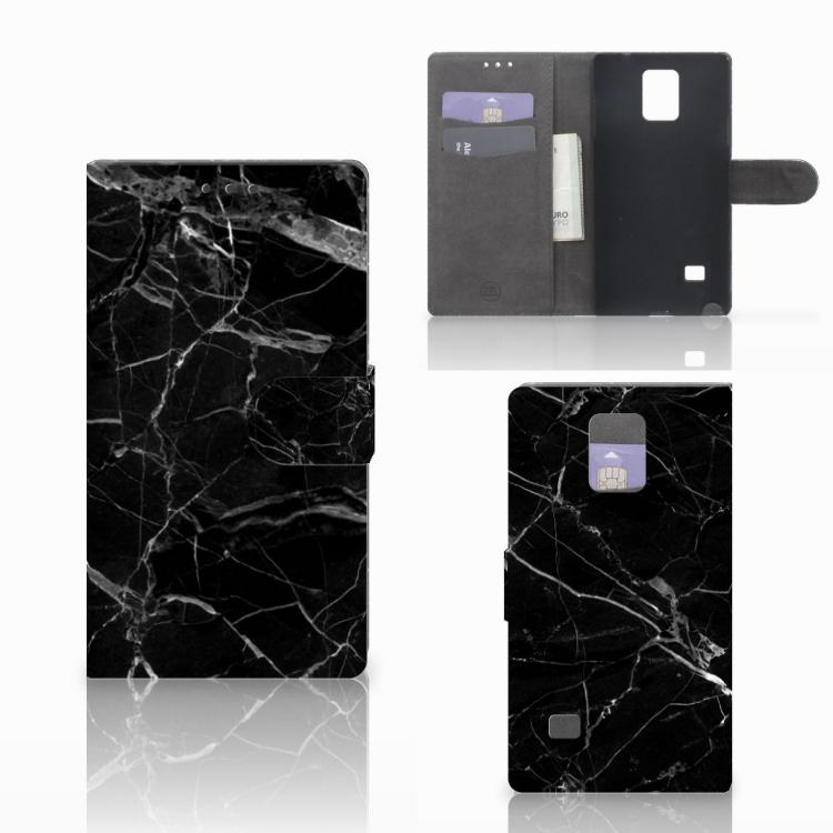 Samsung Galaxy Note 4 Bookcase Marmer Zwart