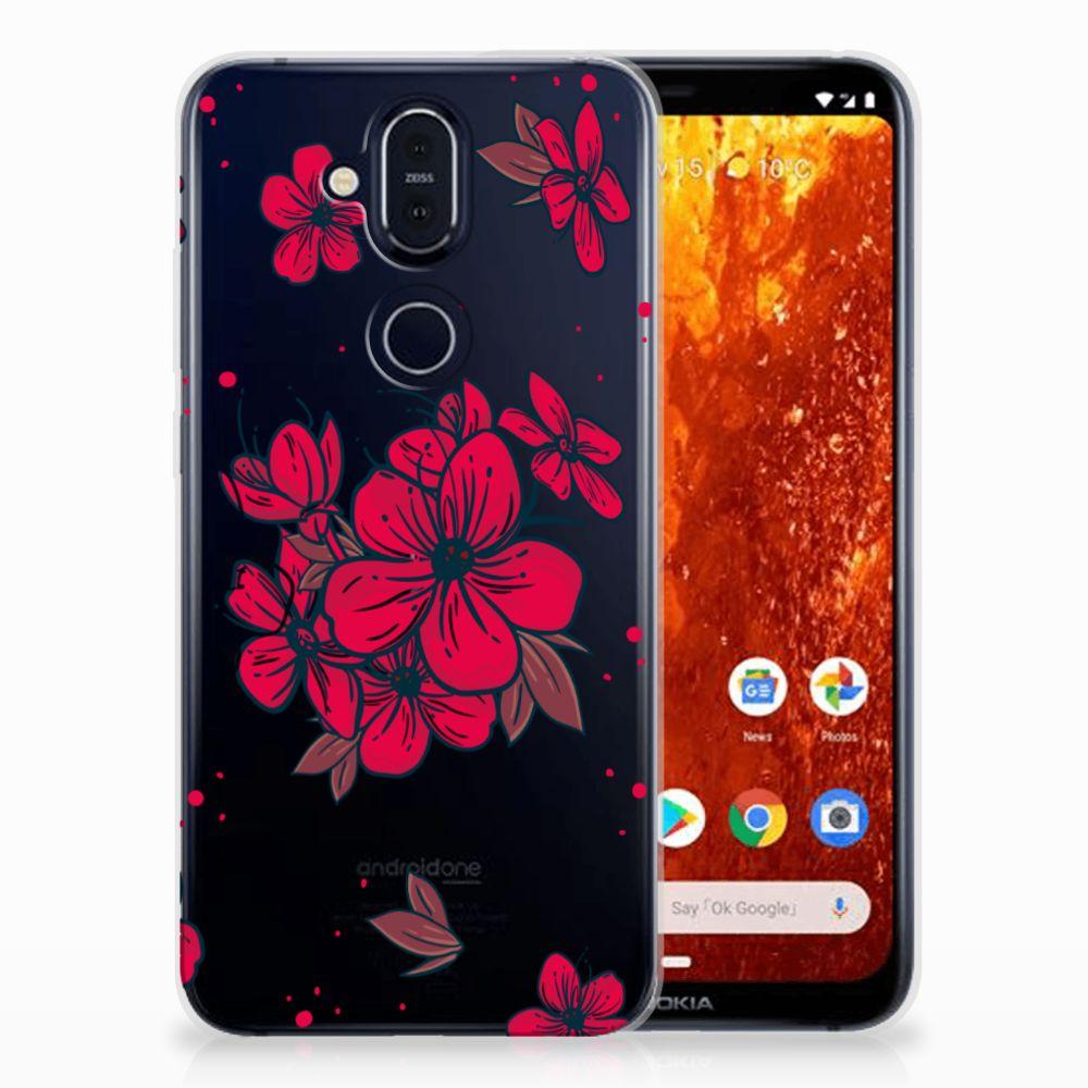 Nokia 8.1 TPU Hoesje Design Blossom Red