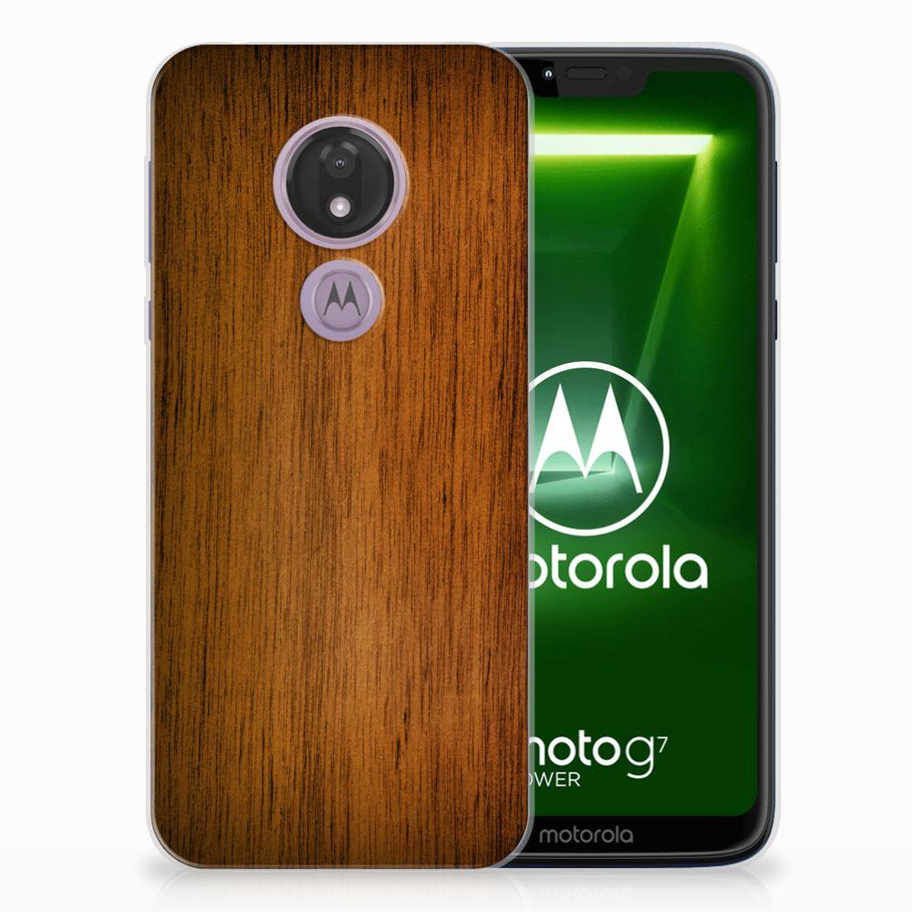 Motorola Moto G7 Power Bumper Hoesje Donker Hout