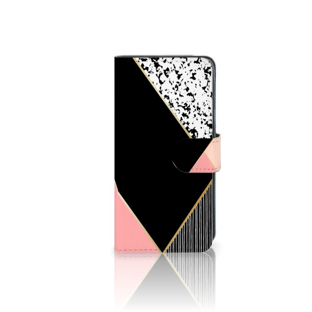 Samsung Galaxy J3 2016 Boekhoesje Black Pink Shapes