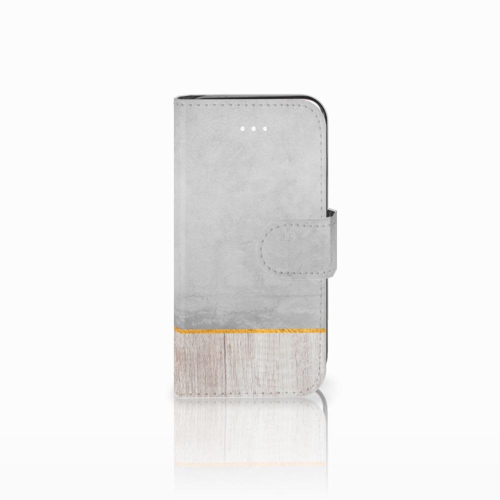 Apple iPhone 5 | 5s | SE Uniek Boekhoesje Wood Concrete