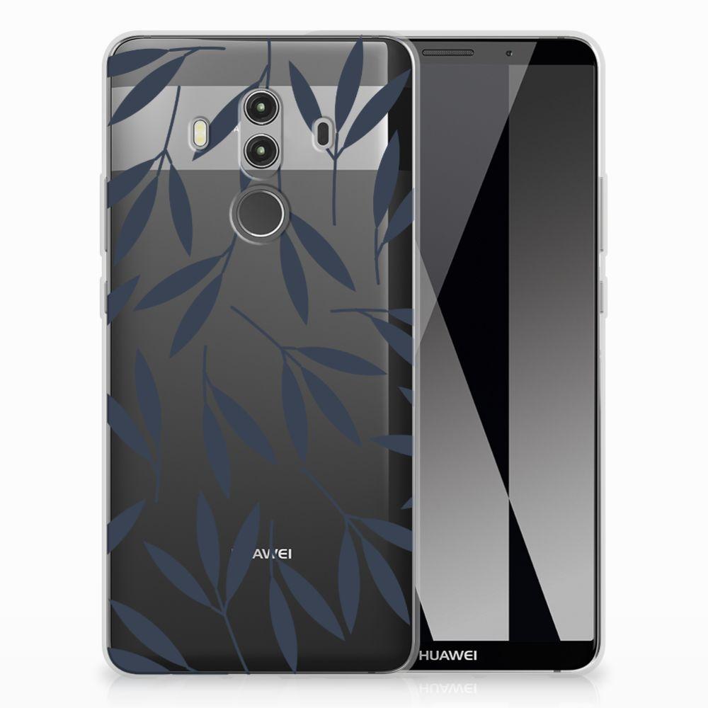 Huawei Mate 10 Pro TPU Hoesje Design Leaves Blue