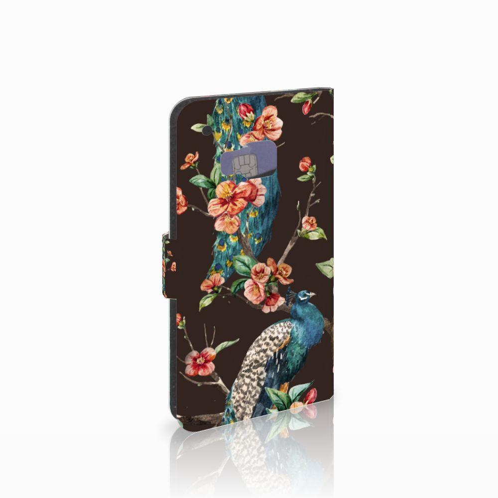 HTC One M9 Telefoonhoesje met Pasjes Pauw met Bloemen
