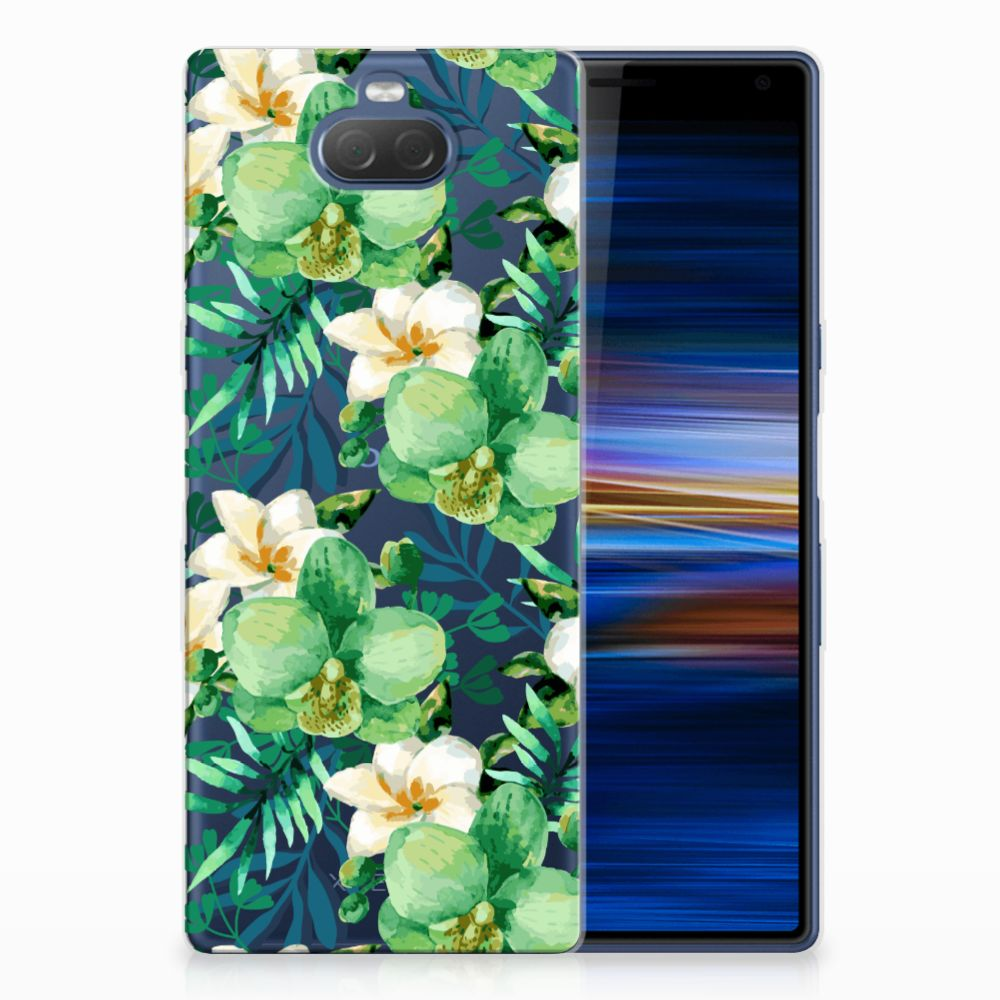 Sony Xperia 10 Plus Uniek TPU Hoesje Orchidee Groen