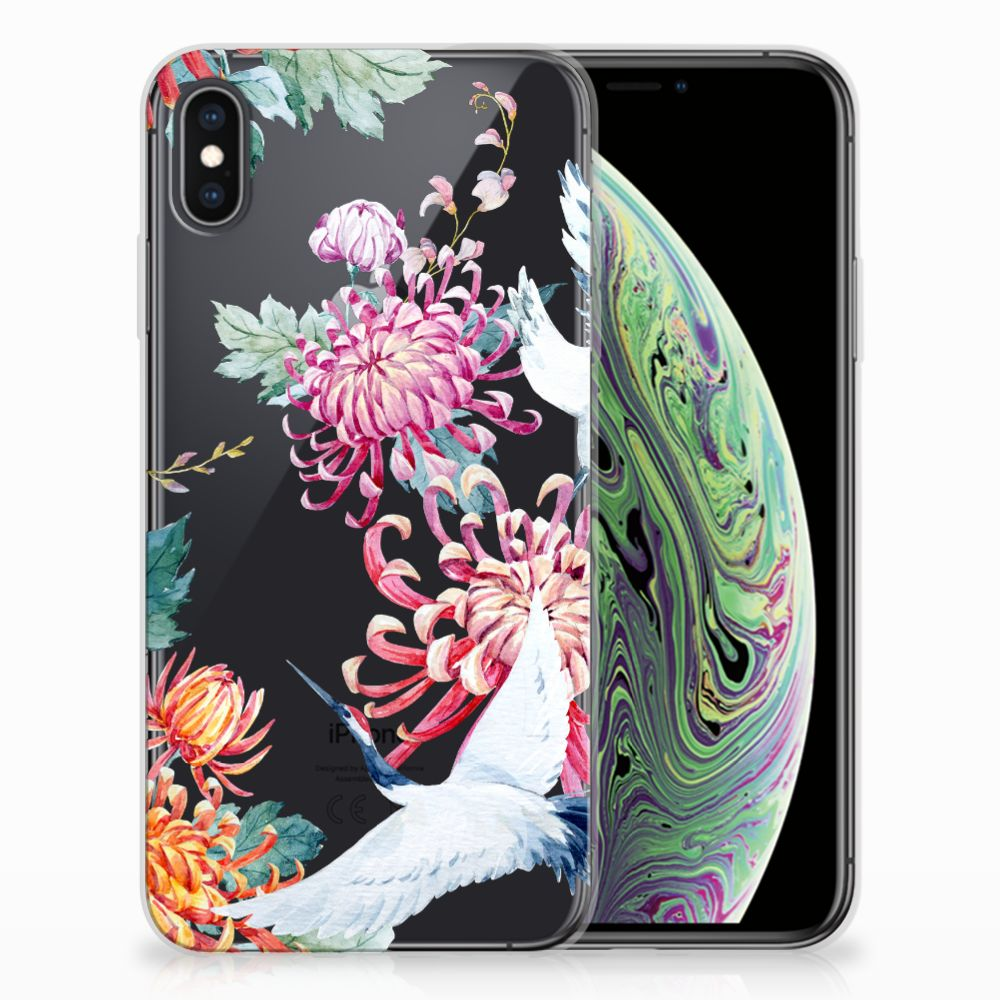 Apple iPhone Xs Max TPU Hoesje Bird Flowers