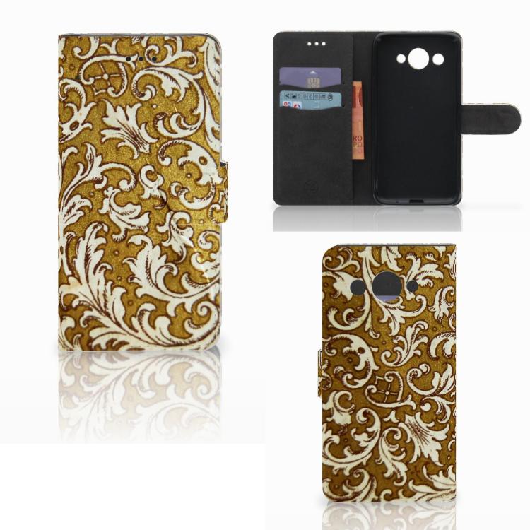Wallet Case Huawei Y3 2017 Barok Goud