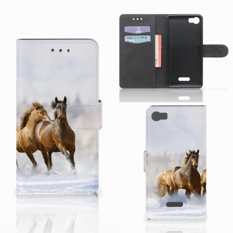 Wiko Fever (4G) Telefoonhoesje met Pasjes Paarden