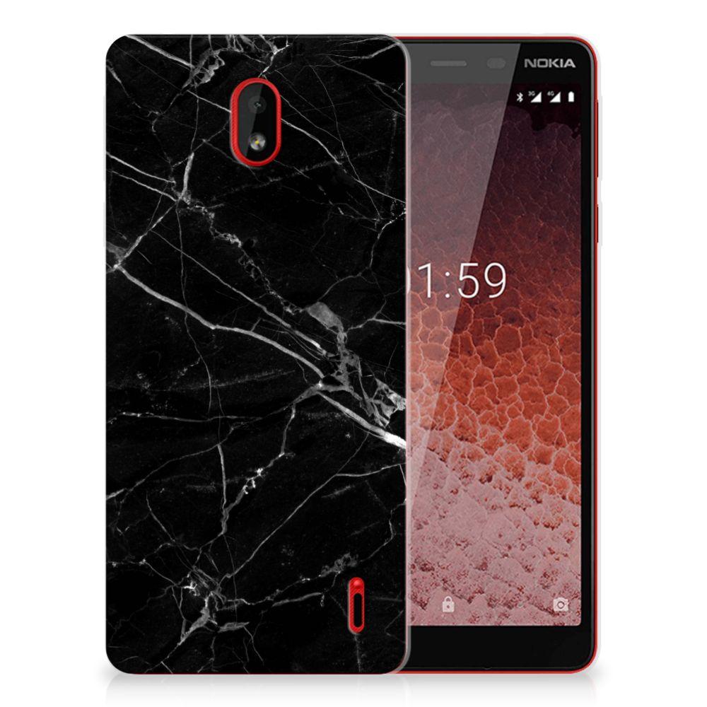 Nokia 1 Plus TPU Siliconen Hoesje Marmer Zwart - Origineel Cadeau Vader