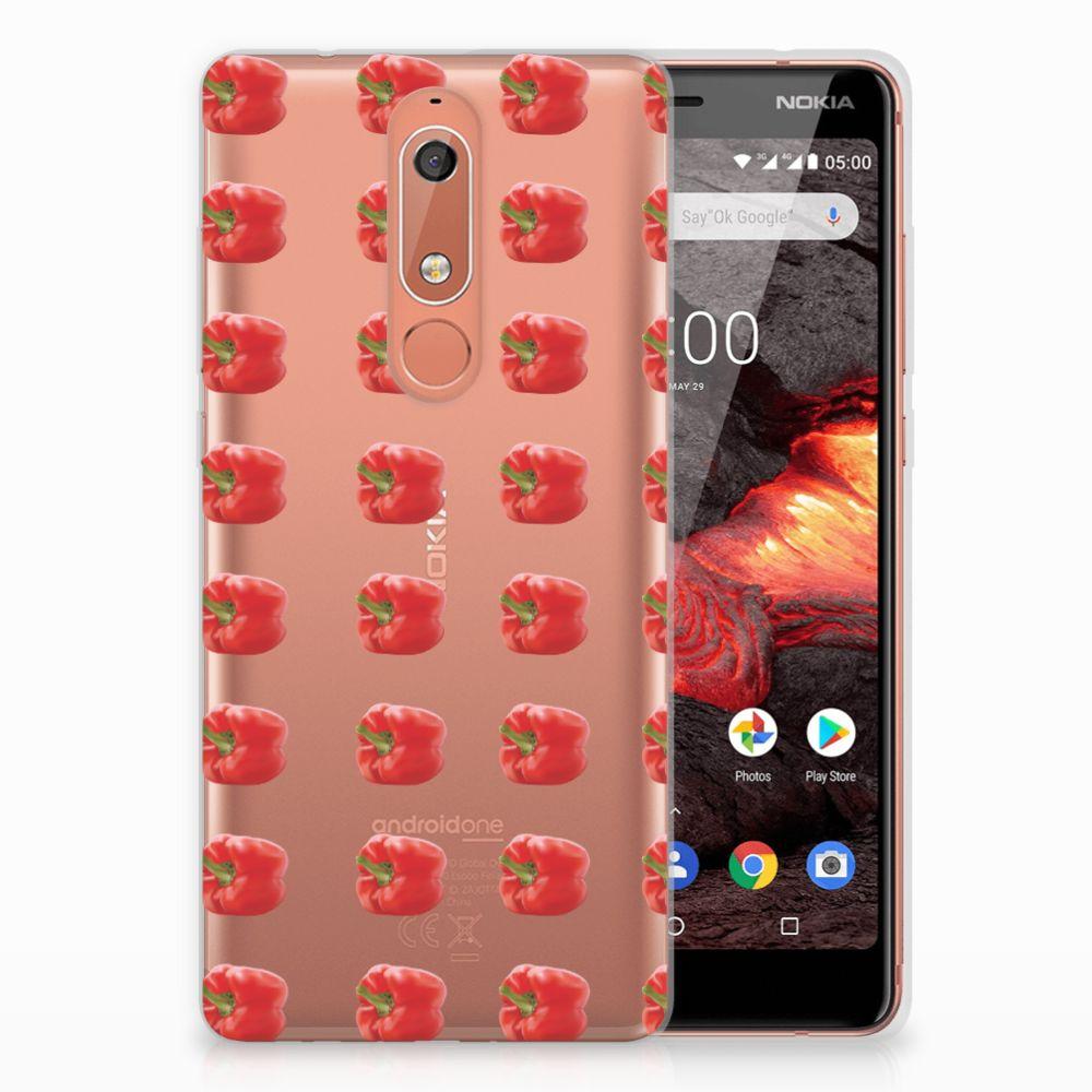 Nokia 5.1 (2018) Siliconen Case Paprika Red