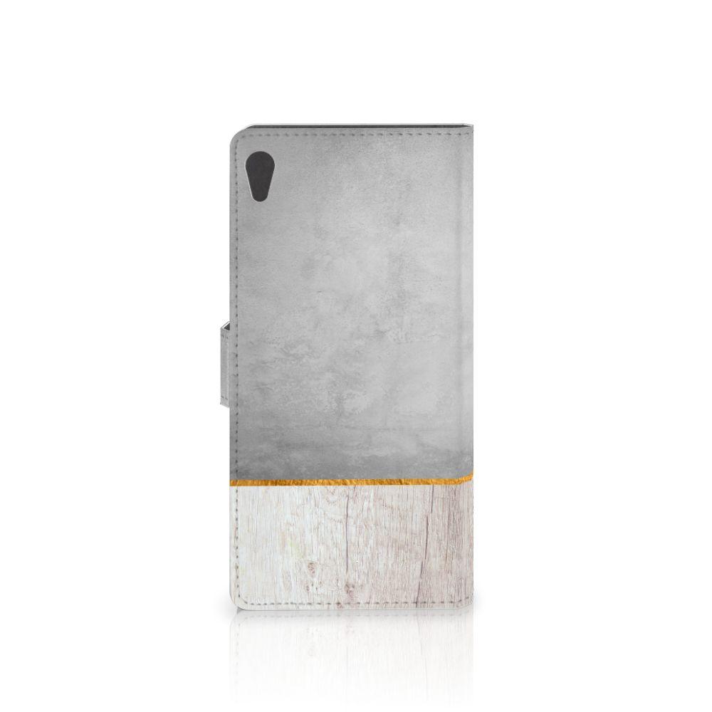 Sony Xperia XA Ultra Book Style Case Wood Concrete