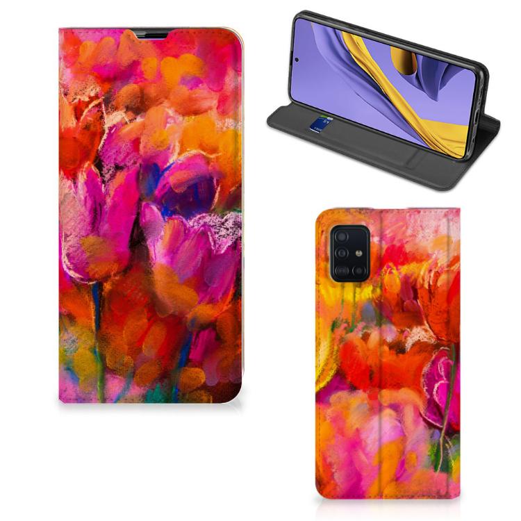 Bookcase Samsung Galaxy A51 Tulips