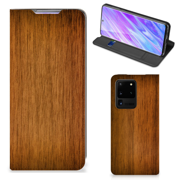 Samsung Galaxy S20 Ultra Book Wallet Case Donker Hout