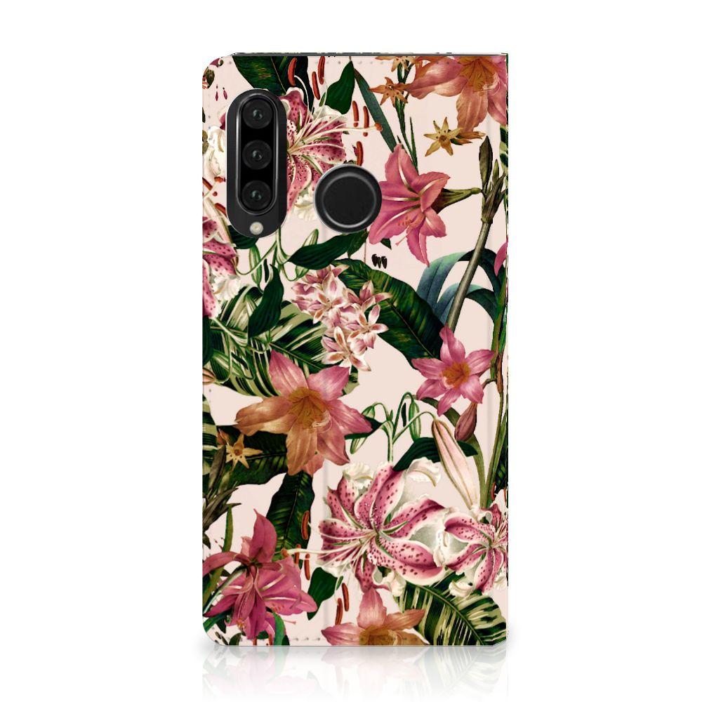 Huawei P30 Lite Uniek Standcase Hoesje Flowers