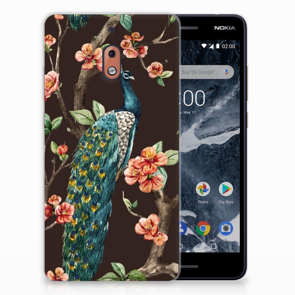 Nokia 2.1 (2018) TPU Hoesje Design Pauw met Bloemen