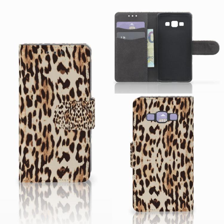 Samsung Galaxy A3 2015 Telefoonhoesje met Pasjes Leopard
