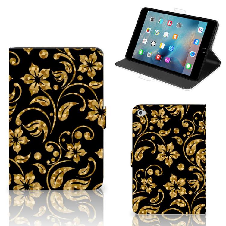 Apple iPad Mini 5 Tablet Cover Gouden Bloemen