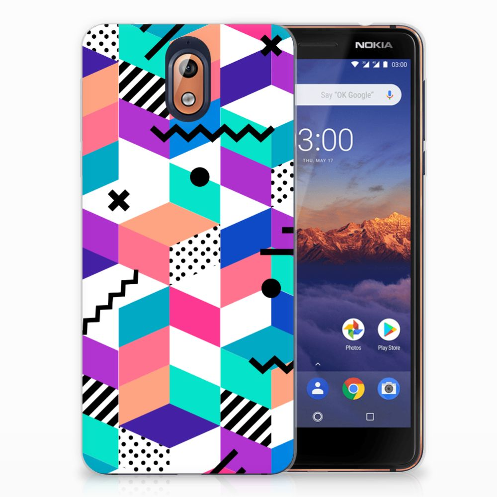 Nokia 3.1 (2018) TPU Hoesje Blokken Kleurrijk