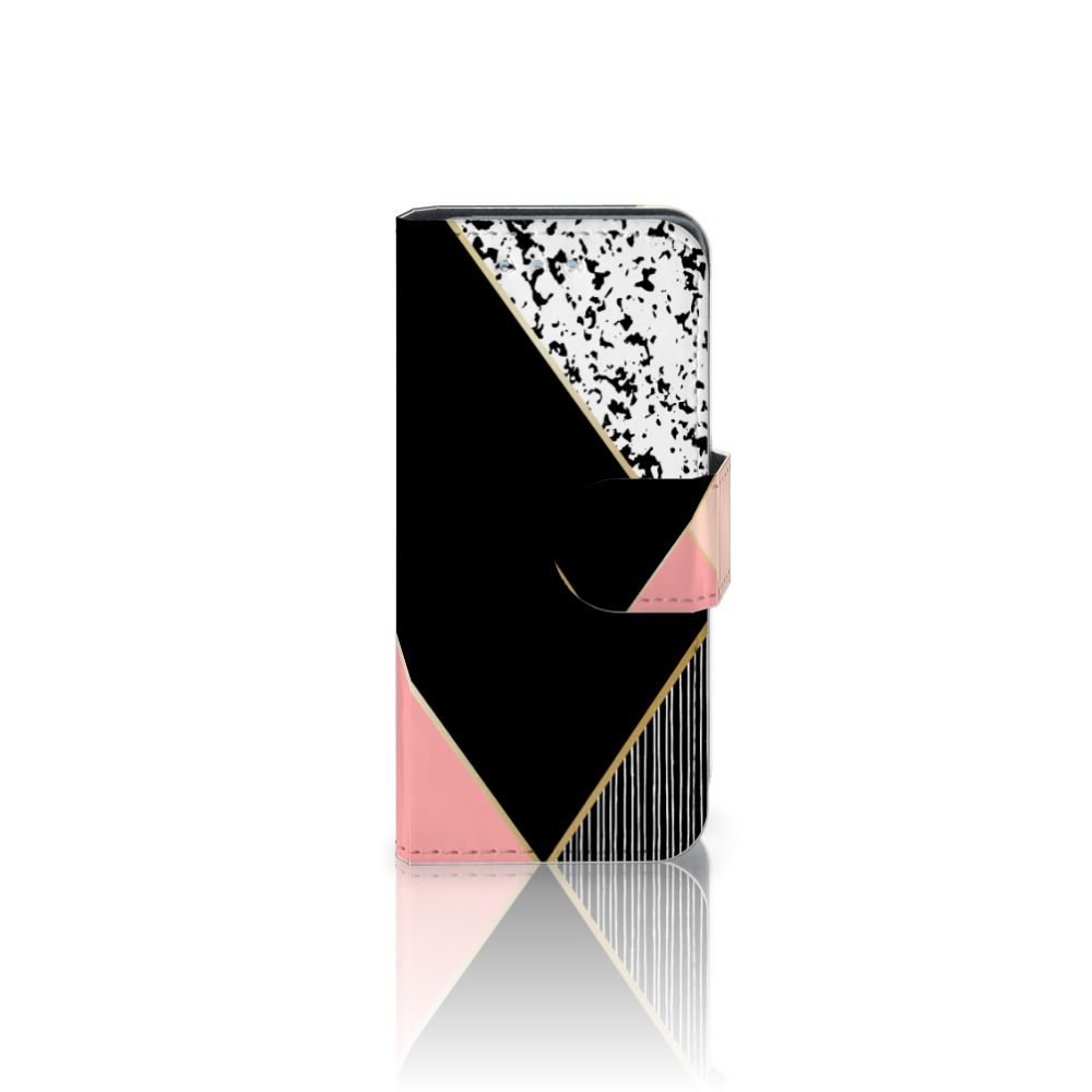 Samsung Galaxy S4 Mini i9190 Uniek Boekhoesje Black Pink Shapes