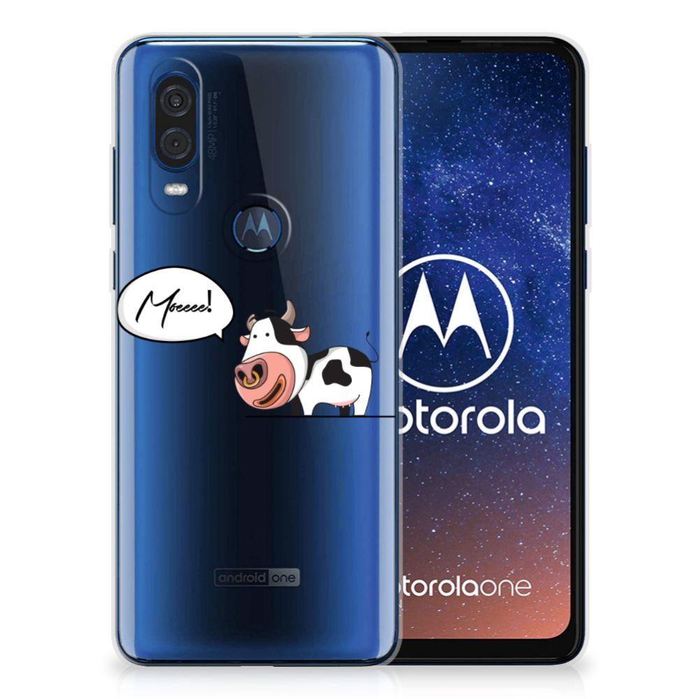 Motorola One Vision Telefoonhoesje met Naam Cow