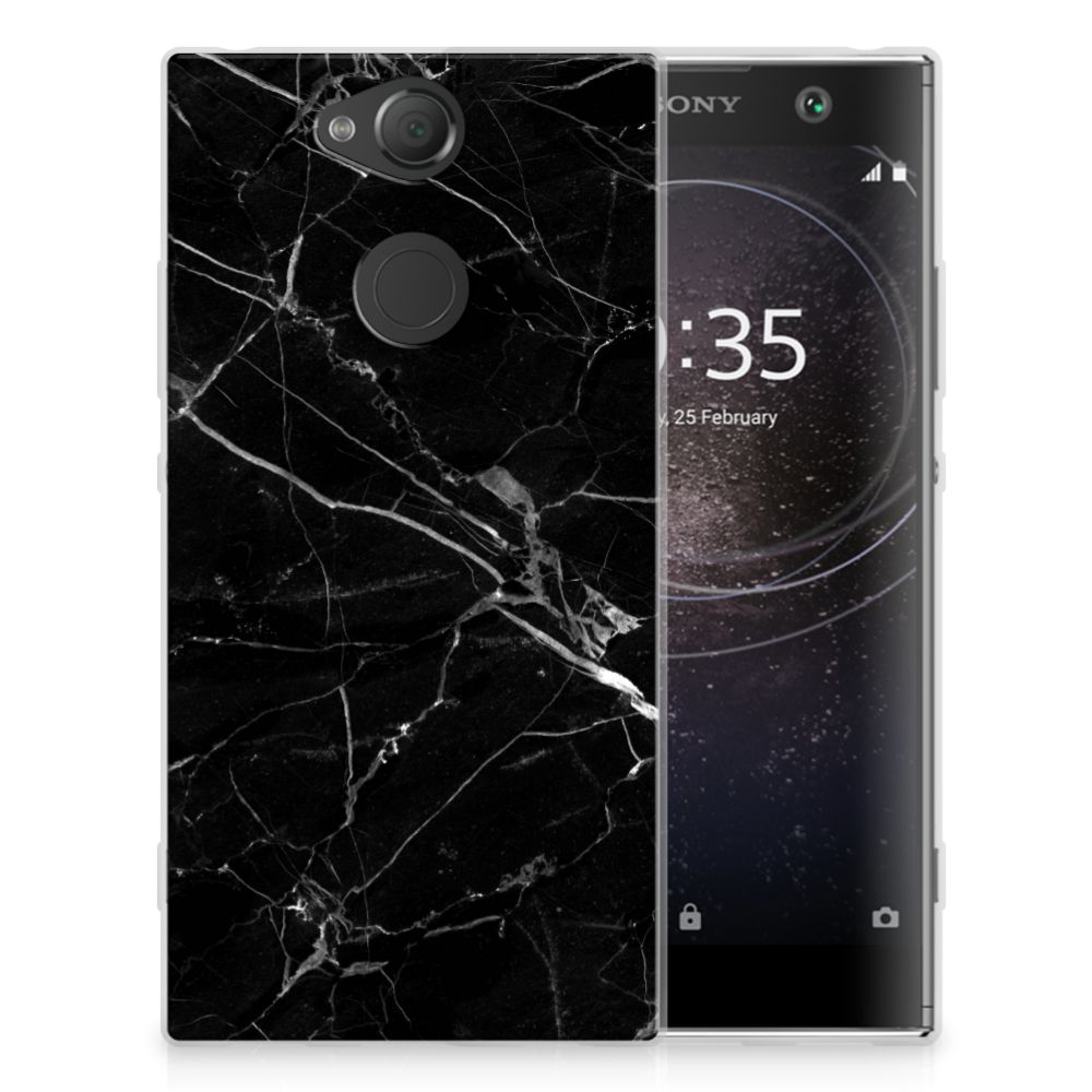 Sony Xperia XA2 TPU Hoesje Marmer Zwart
