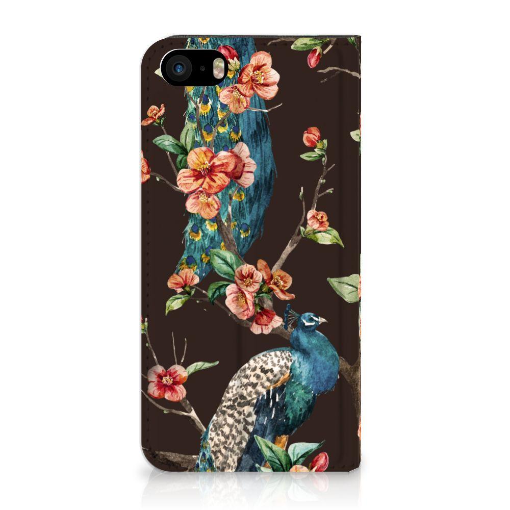 iPhone SE|5S|5 Standcase Hoesje Design Pauw met Bloemen