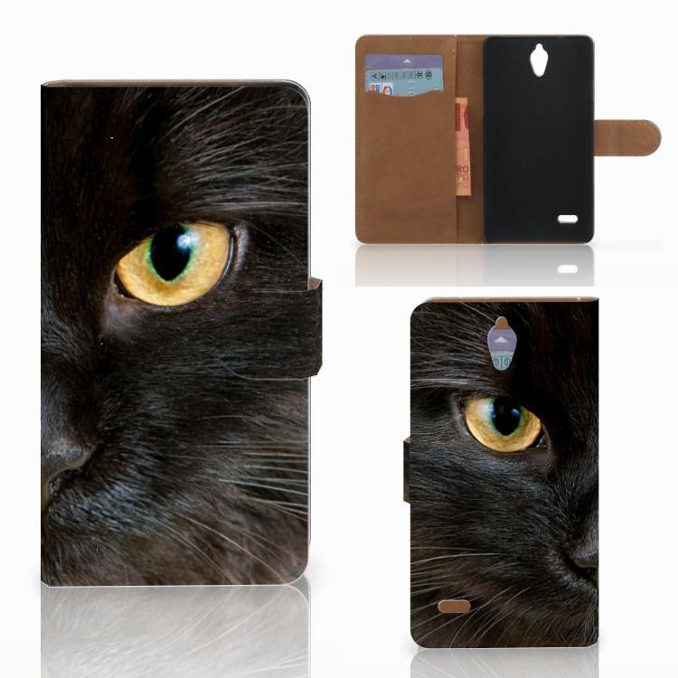 Huawei Ascend G700 Telefoonhoesje met Pasjes Zwarte Kat