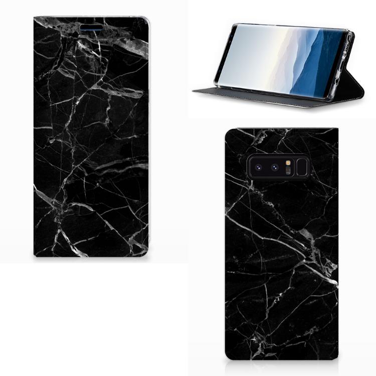 Samsung Galaxy Note 8 Standcase Marmer Zwart - Origineel Cadeau Vader