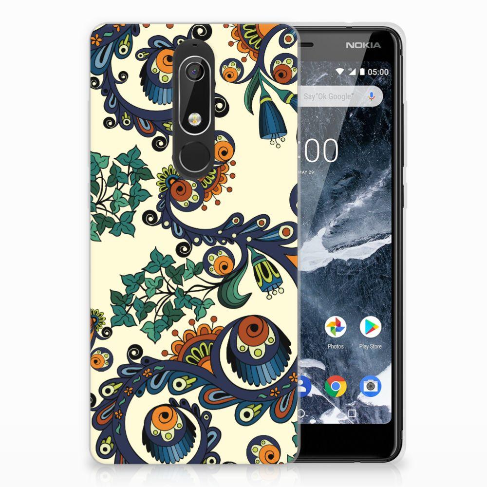 Nokia 5.1 (2018) TPU Hoesje Design Barok Flower