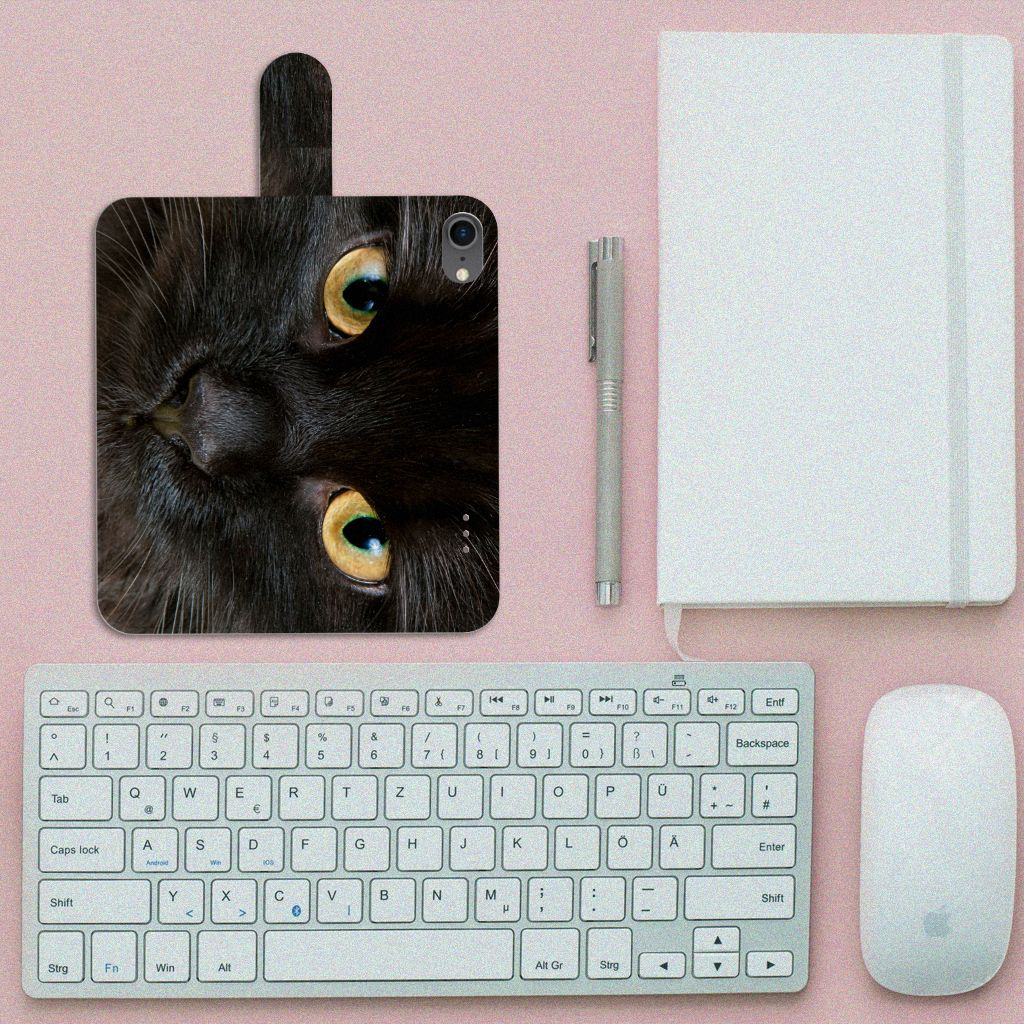 iPhone 7   8   SE (2020) Telefoonhoesje met Pasjes Zwarte Kat