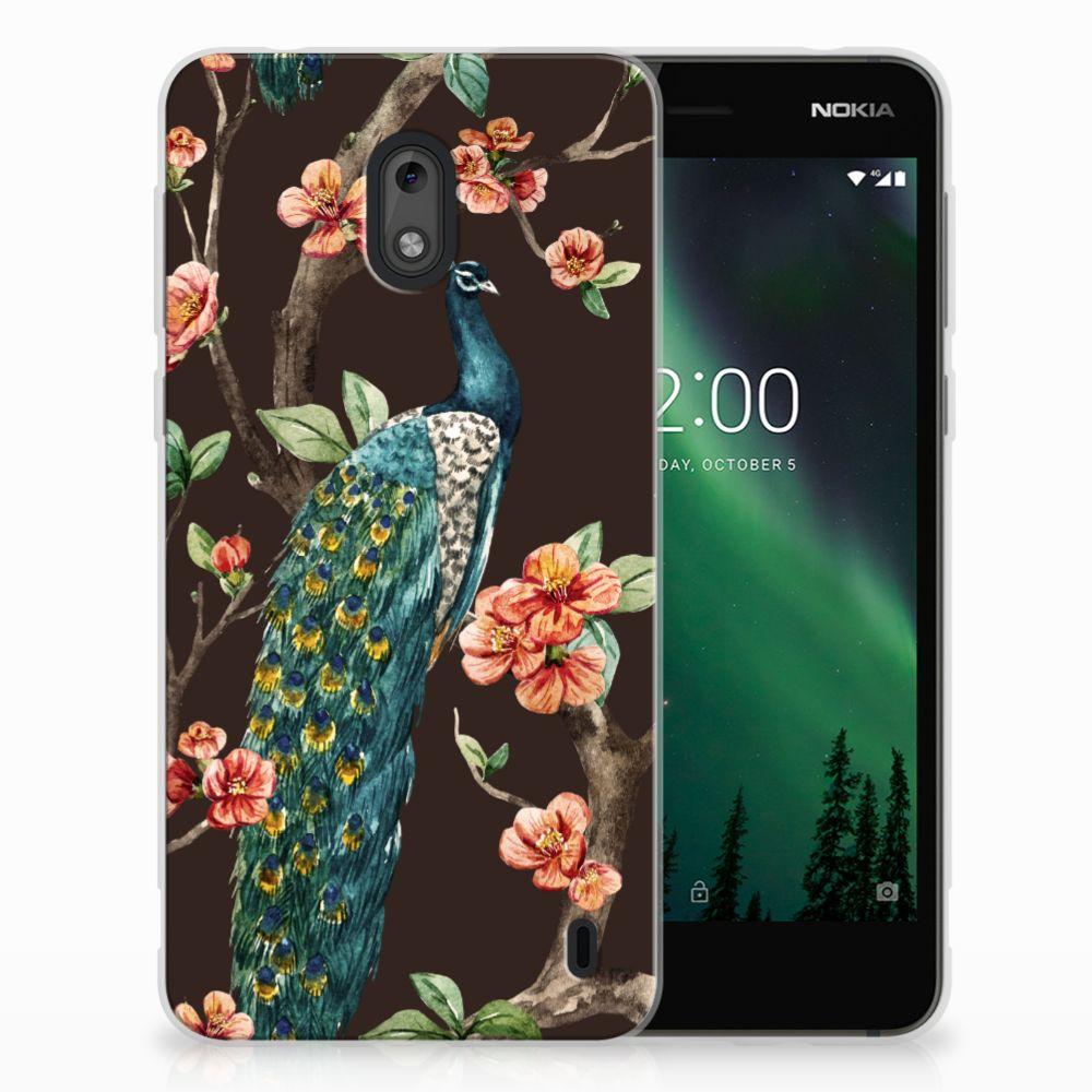 Nokia 2 TPU Hoesje Design Pauw met Bloemen