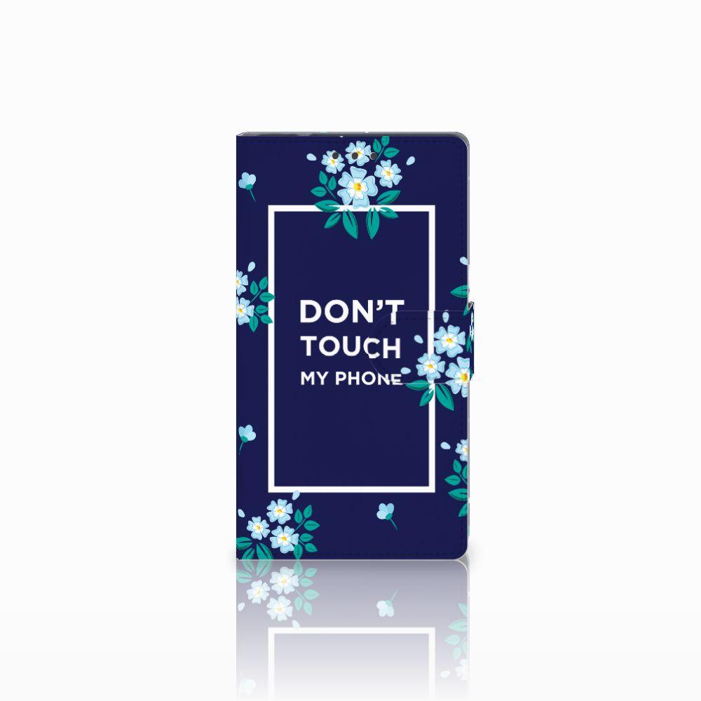 Samsung Galaxy Note 4 Boekhoesje Flowers Blue DTMP