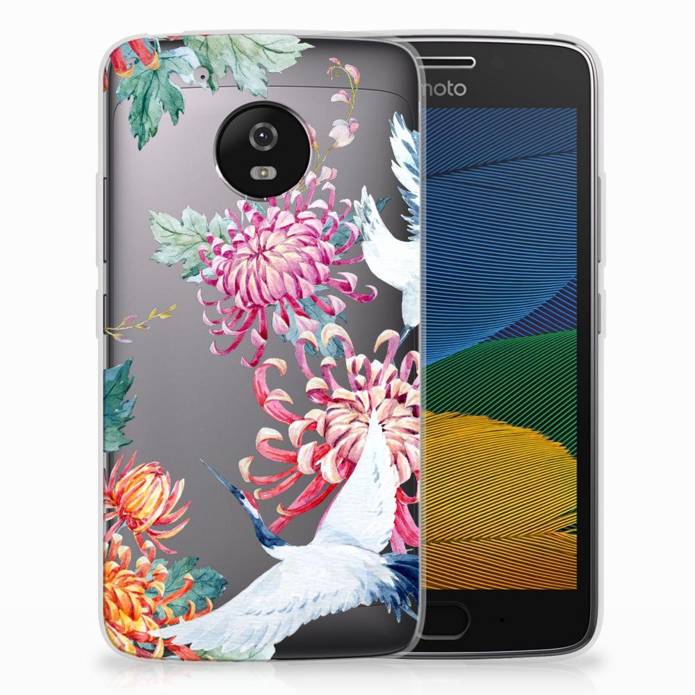 Motorola Moto G5 TPU Hoesje Bird Flowers
