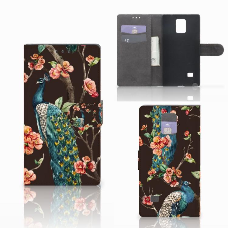 Samsung Galaxy Note 4 Telefoonhoesje met Pasjes Pauw met Bloemen
