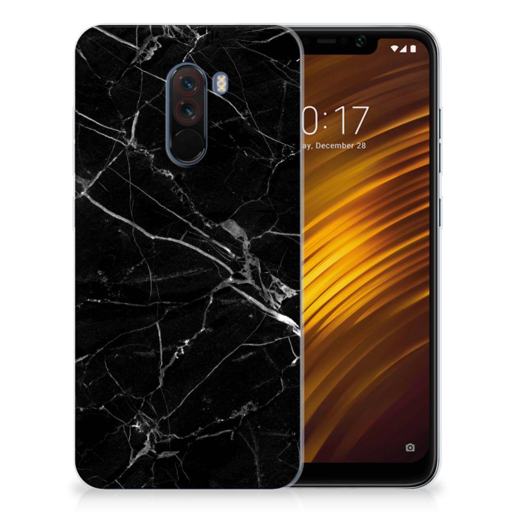 Xiaomi Pocophone F1 TPU Siliconen Hoesje Marmer Zwart