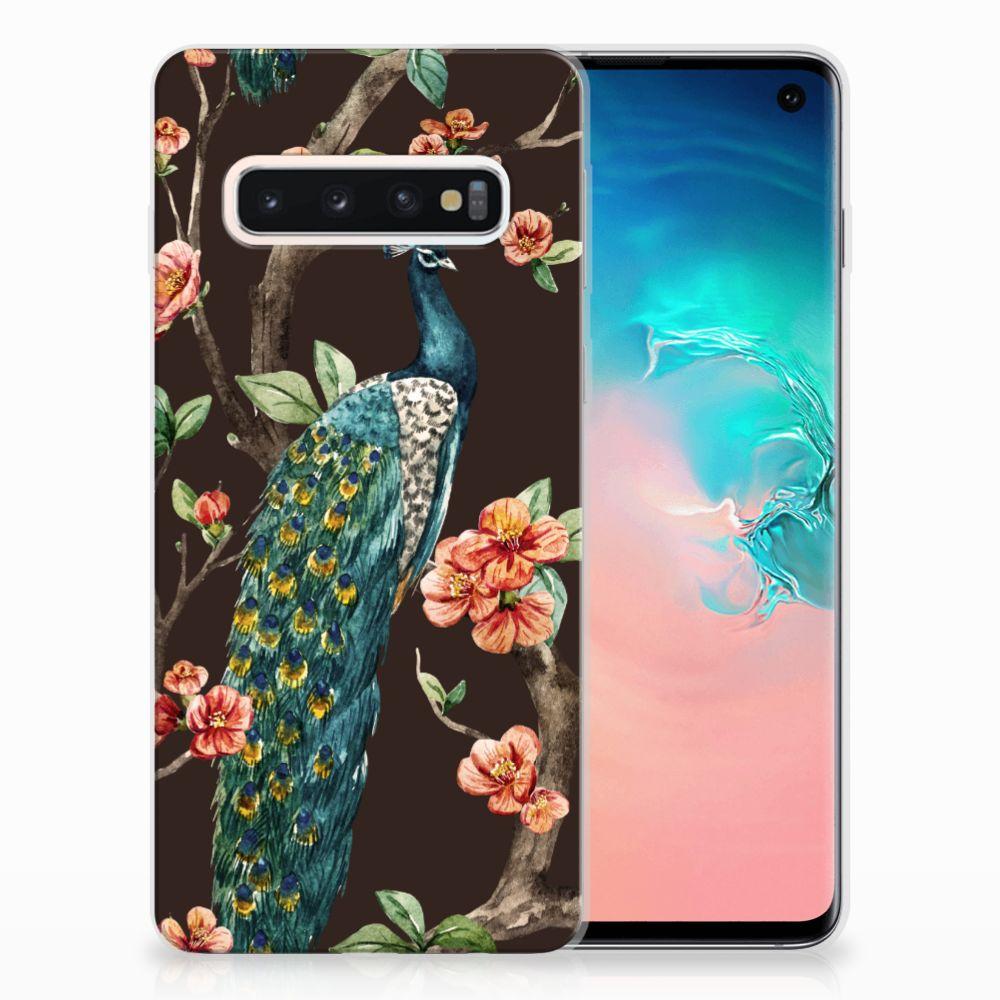 Samsung Galaxy S10 TPU Hoesje Design Pauw met Bloemen