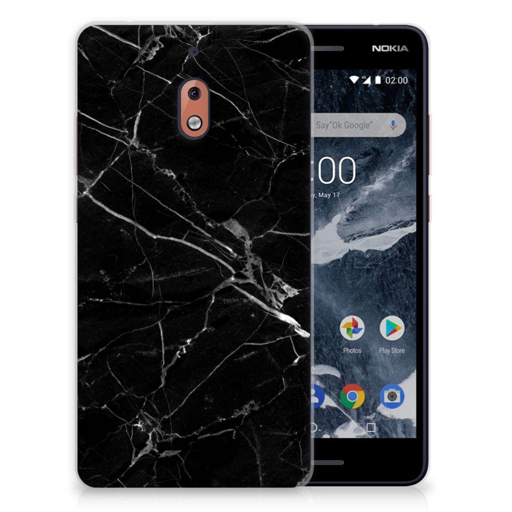 Nokia 2.1 (2018) Uniek TPU Hoesje Marmer Zwart
