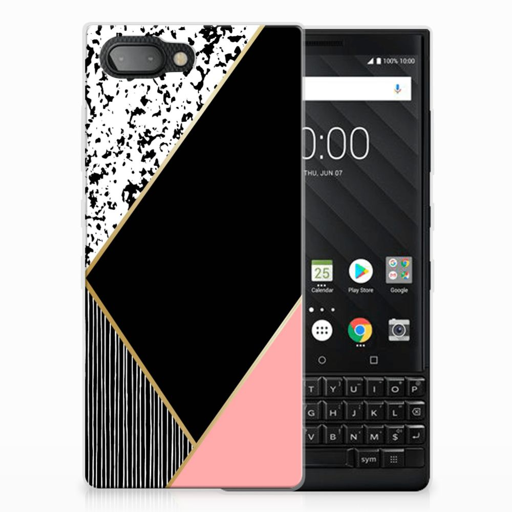 BlackBerry Key2 TPU Hoesje Zwart Roze Vormen
