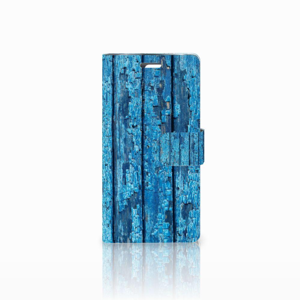 LG K10 2015 Uniek Boekhoesje Wood Blue