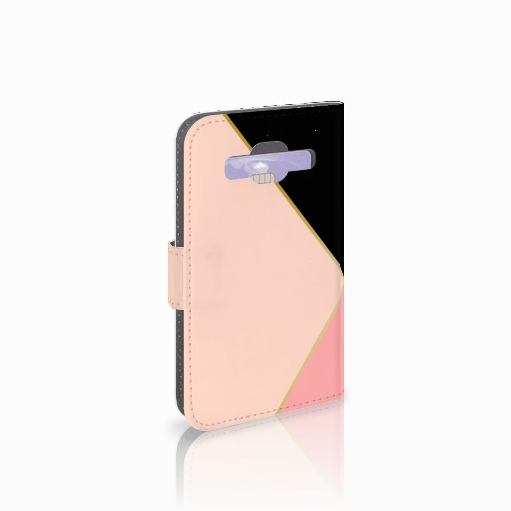 Samsung Galaxy Core Prime Uniek Boekhoesje Black Pink Shapes