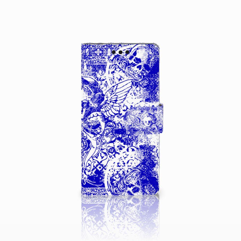 Sony Xperia M4 Aqua Uniek Boekhoesje Angel Skull Blue