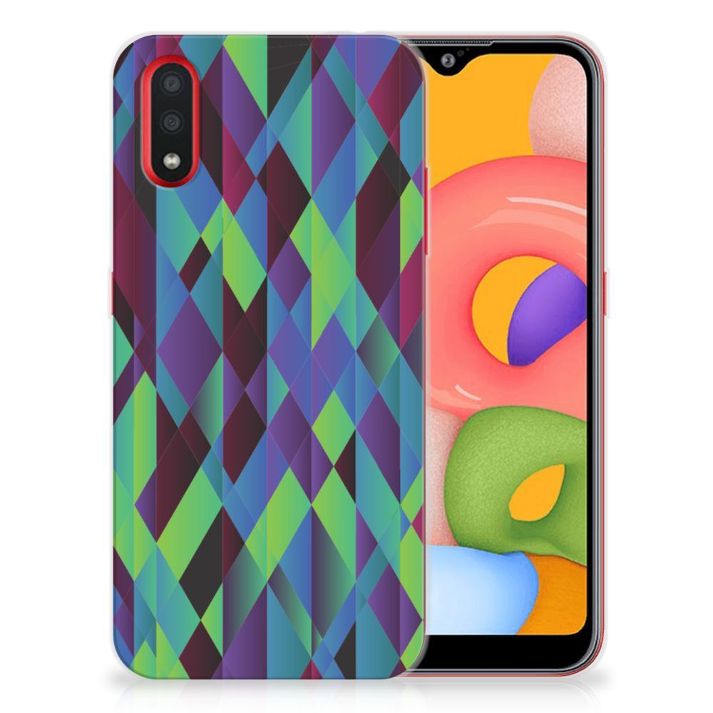 Samsung Galaxy A01 TPU Hoesje Abstract Green Blue