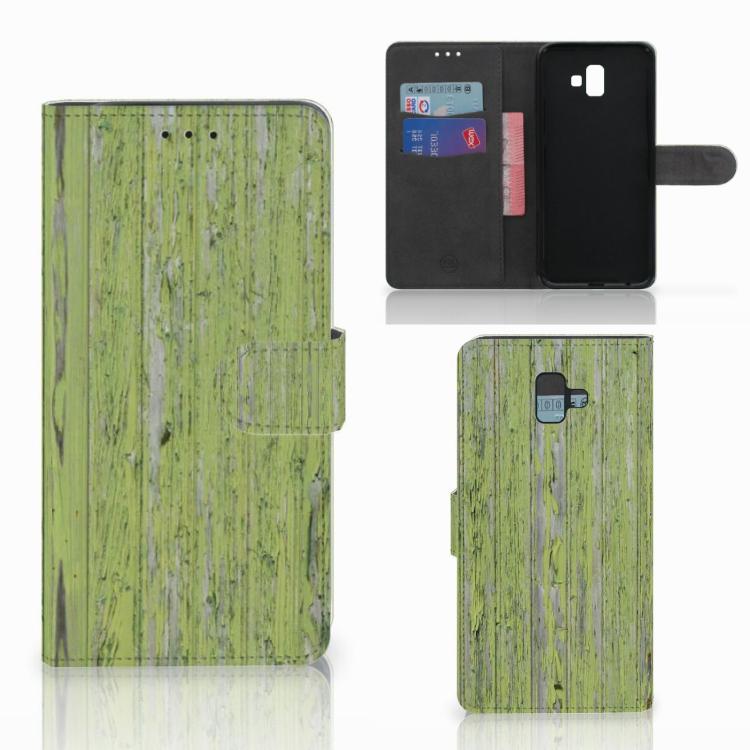 Samsung Galaxy J6 Plus (2018) Book Style Case Green Wood