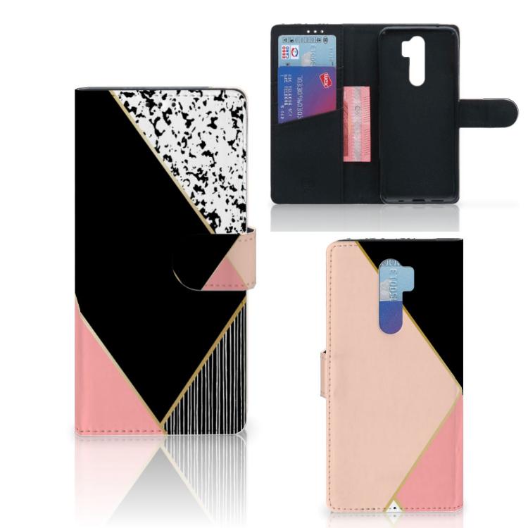 Xiaomi Note 8 Pro Bookcase Zwart Roze Vormen
