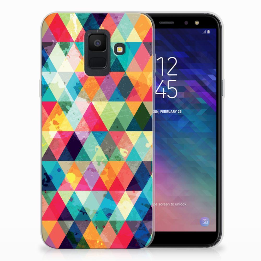 Samsung Galaxy A6 (2018) Uniek TPU Hoesje Geruit