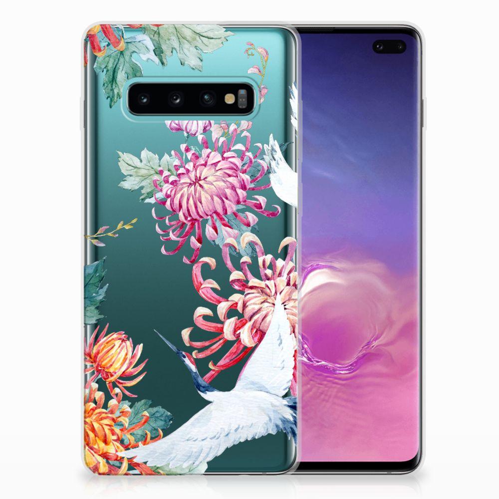 Samsung Galaxy S10 Plus Uniek TPU Hoesje Bird Flowers