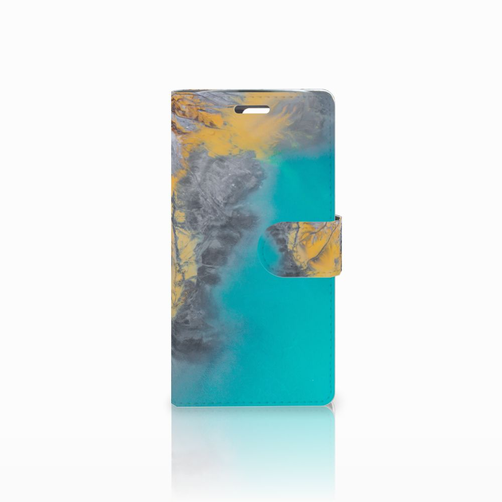 LG K10 2015 Bookcase Marble Blue Gold