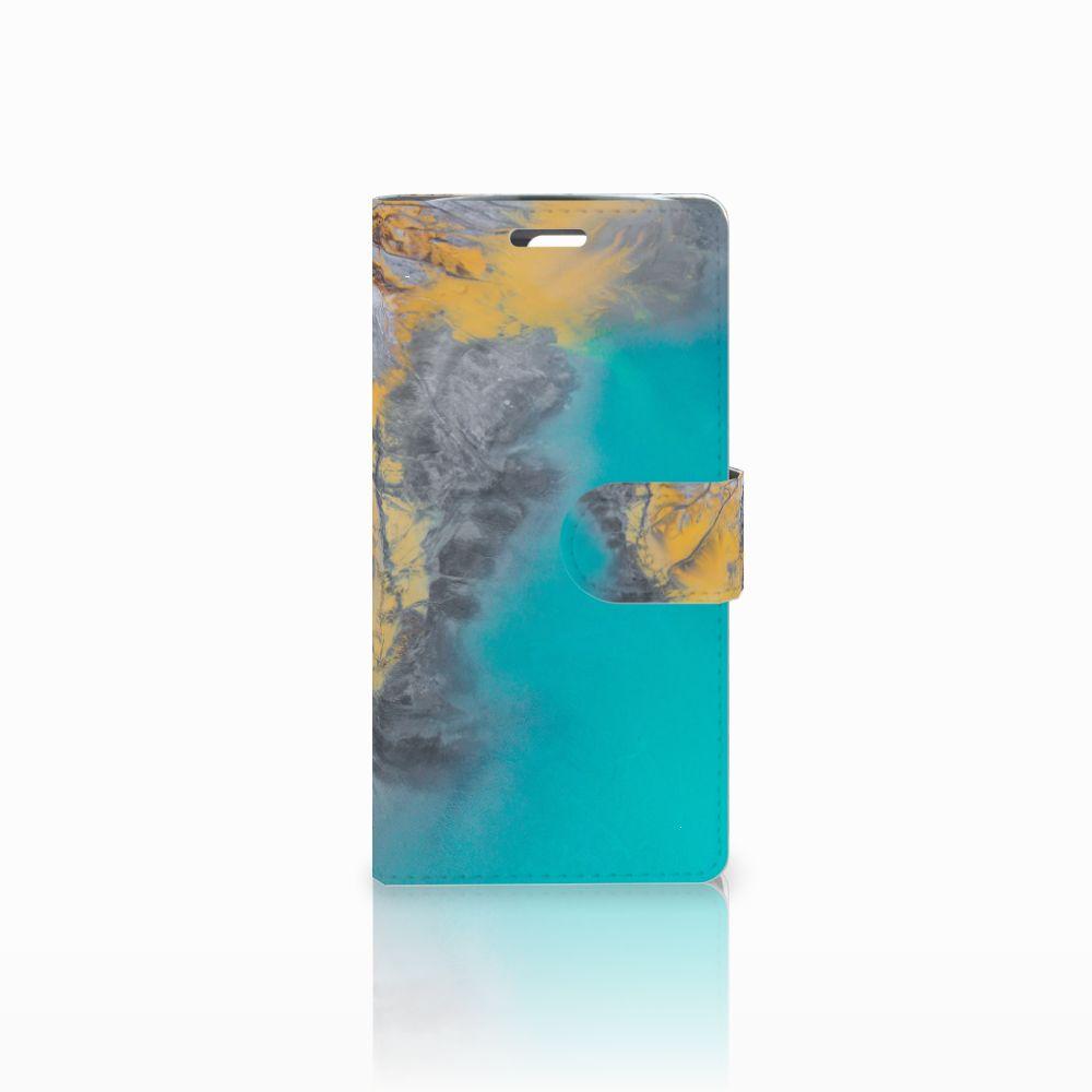 LG K10 2015 Boekhoesje Design Marble Blue Gold