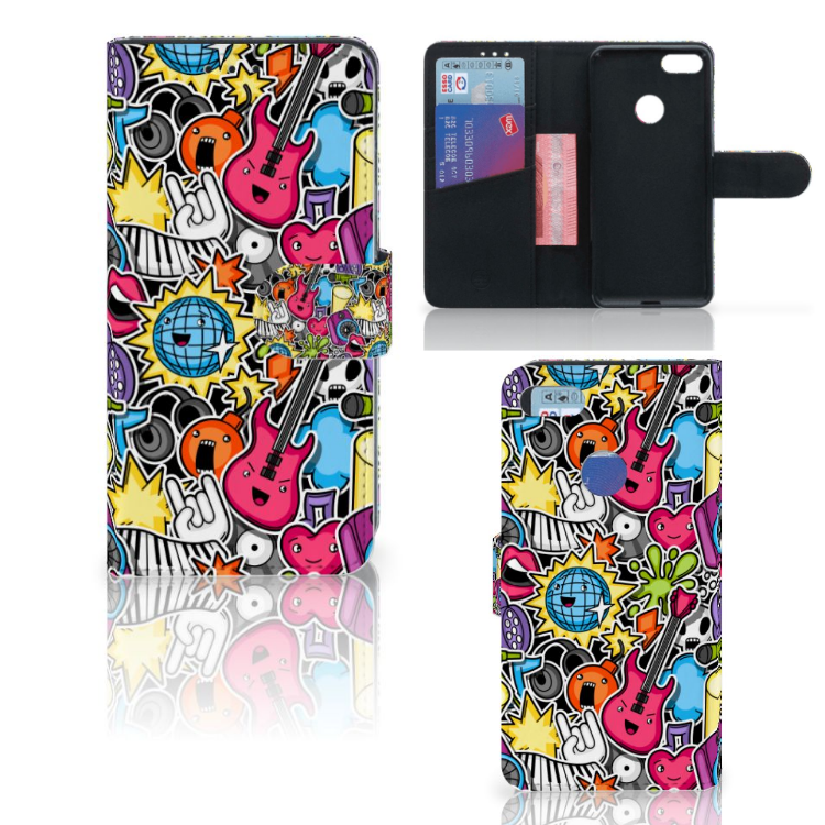 Motorola Moto E6 Play Wallet Case met Pasjes Punk Rock