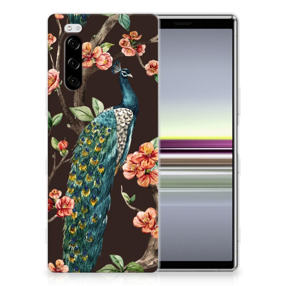 Sony Xperia 5 TPU Hoesje Pauw met Bloemen